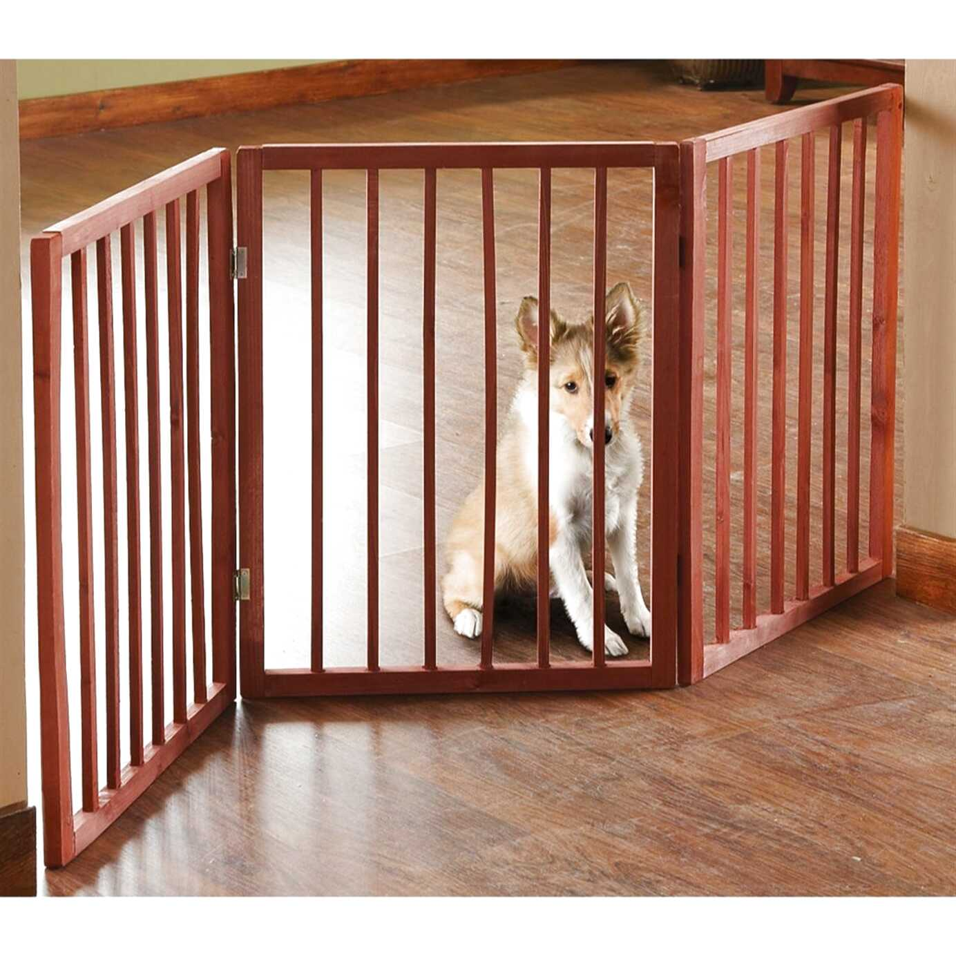 Folding Safety Pet Gate Indoor Wooden Dog Fence Barrier Small 3 Part Portable Uk