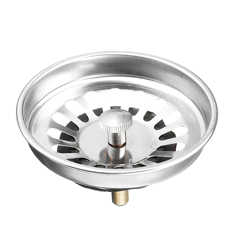 Image of: Pokiene 2pcs Sink Filter Stainless Steel Kitchen Sink Strainer Plug Basket Strainer Waste Plug For Kitchen And Bathroom Diameter 84 Mm Kitchen Sink Accessories Kitchen Fixtures