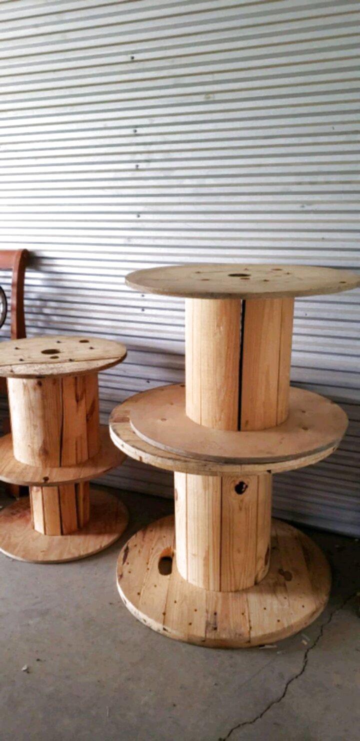 GHJUU 3 Pcs Vintage Wooden Empty Thread Spools Cylinder Needlework Crafts Wood Bobbins Reels Organizer For Ribbon Sewing Tools