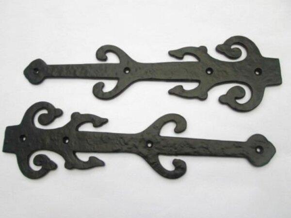 "A Pair Of 10-1//2/"" Double Fleur de Lys False Door Hinge Fronts in Black Cast Iron"
