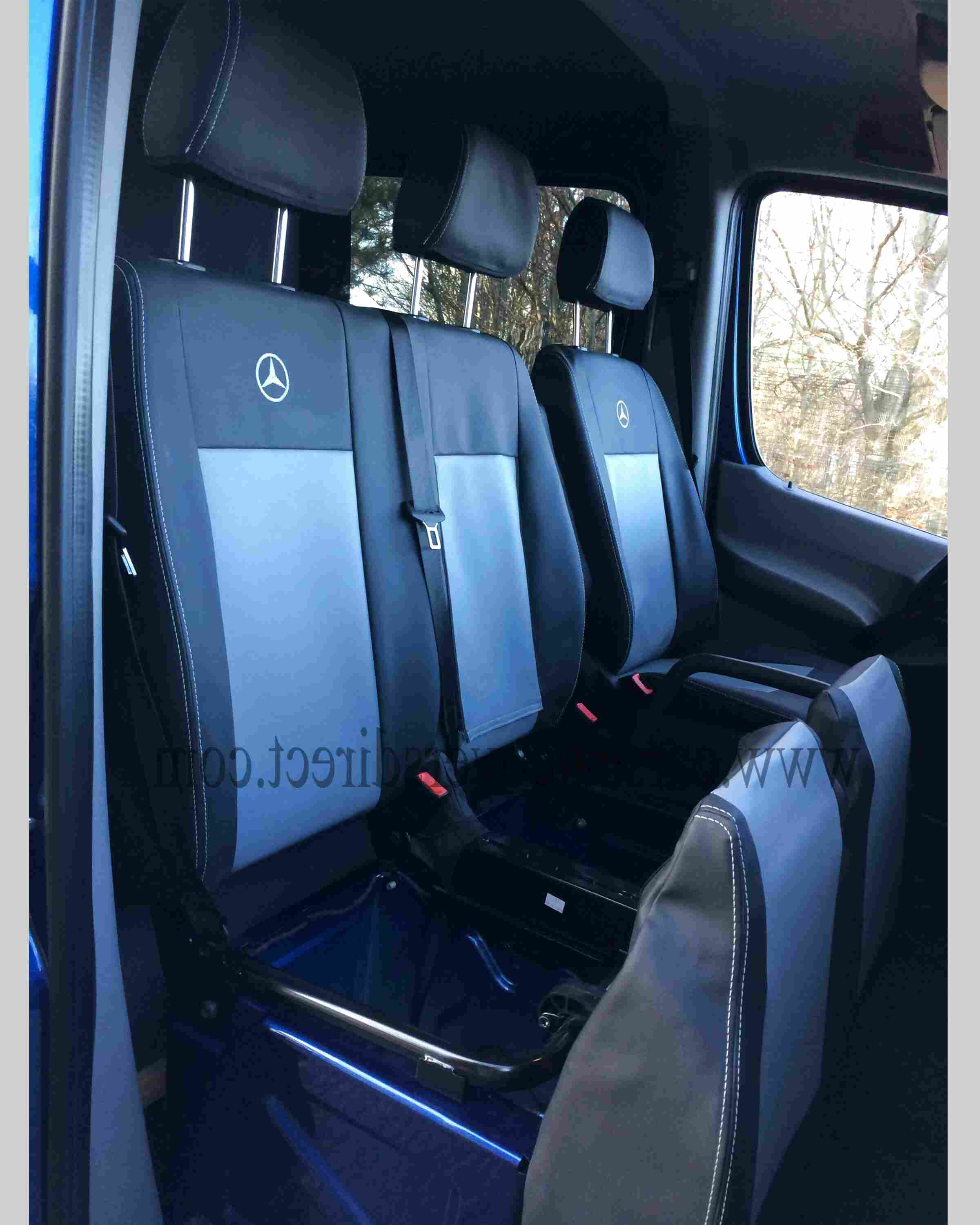 MERCEDES SPRINTER VW CRAFTER 2006-2018 RHD BLUE ECO LEATHER Seat Covers 2+1